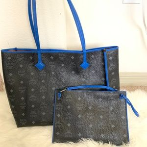 MCM Kira East/West Black and Blue Tote Bag